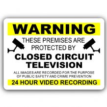 YELLOW-Premises Protected By CCTV-Aluminium Metal Sign-150mmx100mm-Home,Security,Business,Recording